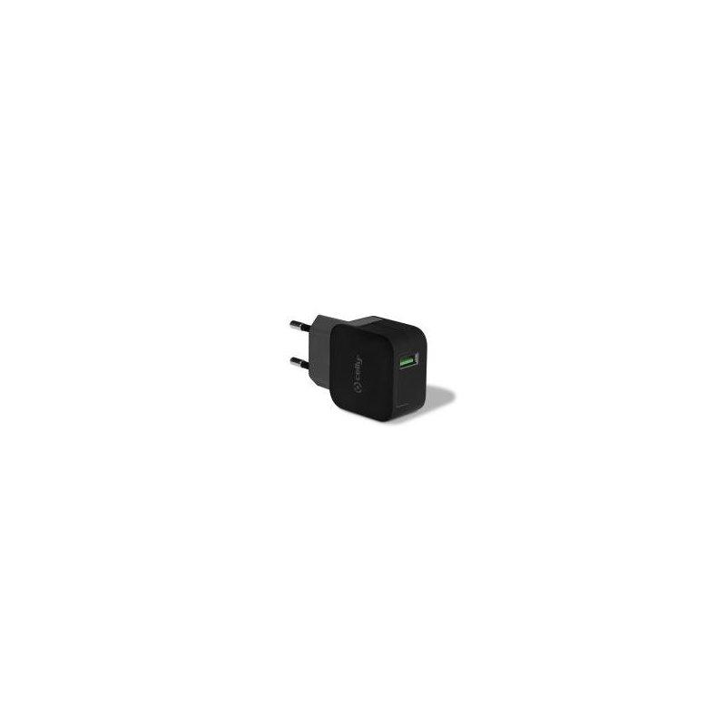 Celly TCUSBTURBOBK cargador de dispositivo móvil Interior Negro