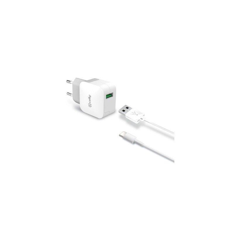 Celly TCUSBTYPEC cargador de dispositivo móvil Interior Blanco