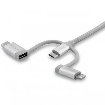 StarTech.com Cable de 2m USB Multi Carga - Lightning, USB C, Micro USB - Cable para Smartphone USB Tipo C