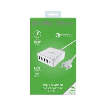 Celly PSUSBC60WWH cargador de dispositivo móvil Interior Blanco