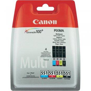 Canon CLI-551 C M Y BK w sec Original Negro, Cian, Magenta, Amarillo Multipack 4 pieza(s)
