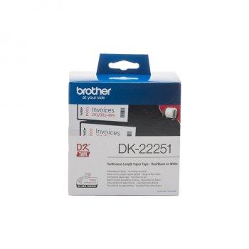 Brother DK-22251 cinta para impresora de etiquetas Negro y rojo sobre blanco
