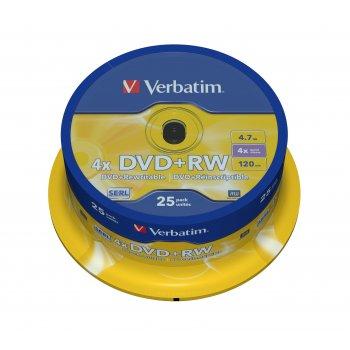 Verbatim DVD+RW Matt Silver 4,7 GB 25 pieza(s)