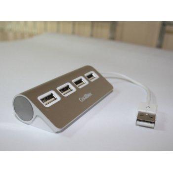 CoolBox HUBCOO4ALU2 hub de interfaz USB 2.0 480 Mbit s Plata