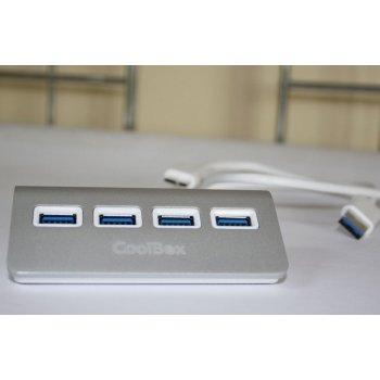 CoolBox HUBCOO4ALU3 hub de interfaz USB 3.0 (3.1 Gen 1) Type-A 5000 Mbit s Plata