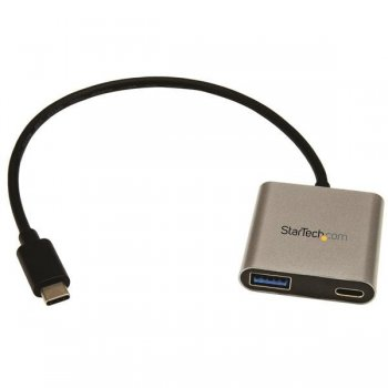 StarTech.com Concentrador Hub USB 3.0 USB-C a 2 Puertos USB-A con Entrega de Potencia - Ladrón USB Tipo C a USB A