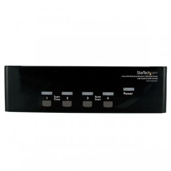 StarTech.com Conmutador Switch KVM 4 Ordenadores 2 Monitores Dobles DVI VGA Audio Puertos USB 1920x1440