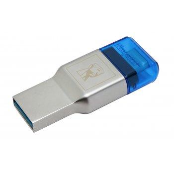Kingston Technology MobileLite Duo 3C lector de tarjeta Azul, Plata USB 3.0 (3.1 Gen 1) Type-A Type-C