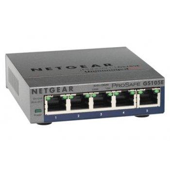Netgear GS105PE No administrado L2 Gigabit Ethernet (10 100 1000) Gris Energía sobre Ethernet (PoE)
