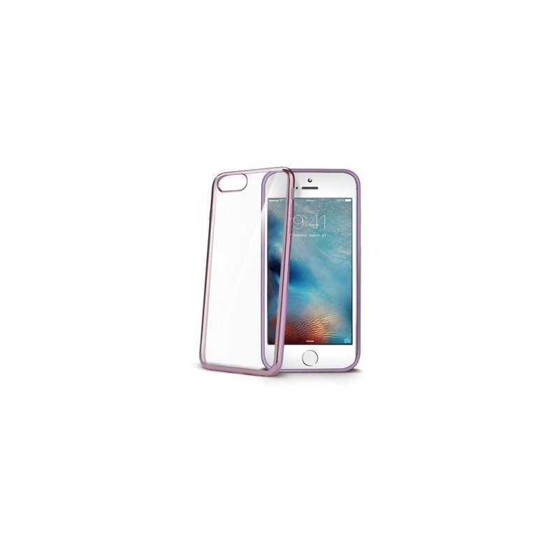 "Celly LASER801RG funda para teléfono móvil 14 cm (5.5"") Oro rosado, Transparente"