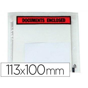 Sobre autoadhesivo q-connect portadocumentos multilingue 113x100 mm sin ventana -paquete de 100 unidades