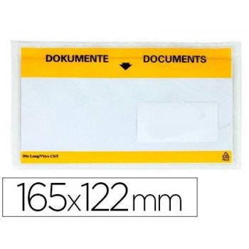 Sobre autoadhesivo q-connect portadocumentos multilingue 165x122 mm ventana transparente paquete de 100