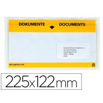Sobre autoadhesivo q-connect portadocumentos multilingue 225x122 mm ventana totalmente transparente paquete de 100