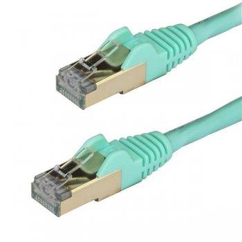 StarTech.com Cable de 1m de Red Ethernet RJ45 Cat6a Blindado STP - Cable sin Enganche Snagless - Aguamarina