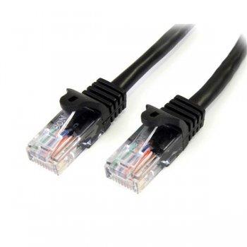 StarTech.com Cable de Red de 0,5m Negro Cat5e Ethernet RJ45 sin Enganches