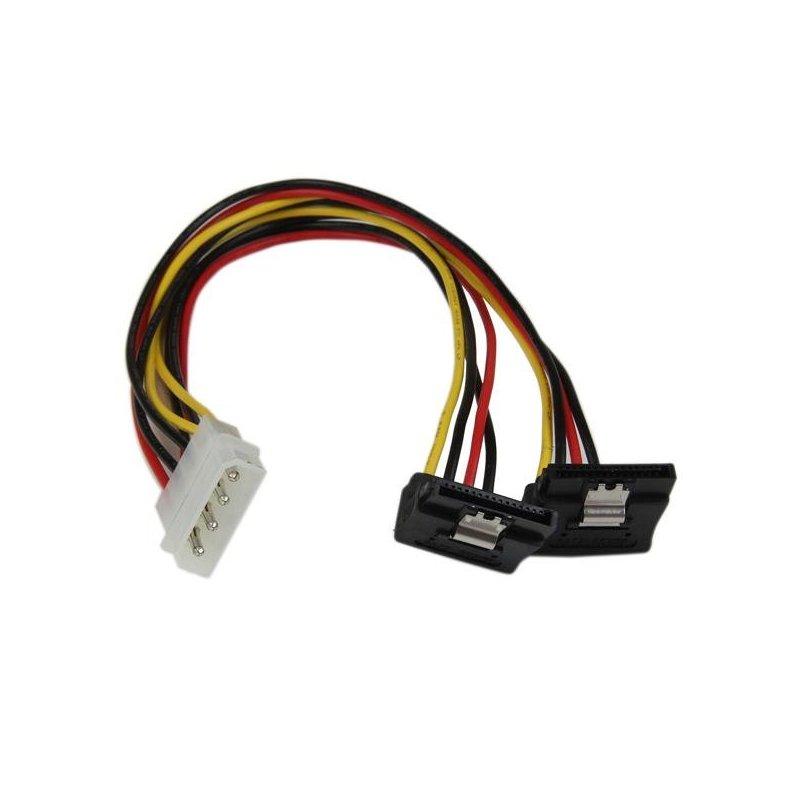 StarTech.com Adaptador Cable 30cm Divisor de 4 Pines LP4 a Doble SATA en Ángulo Derecho Cierre Seguridad